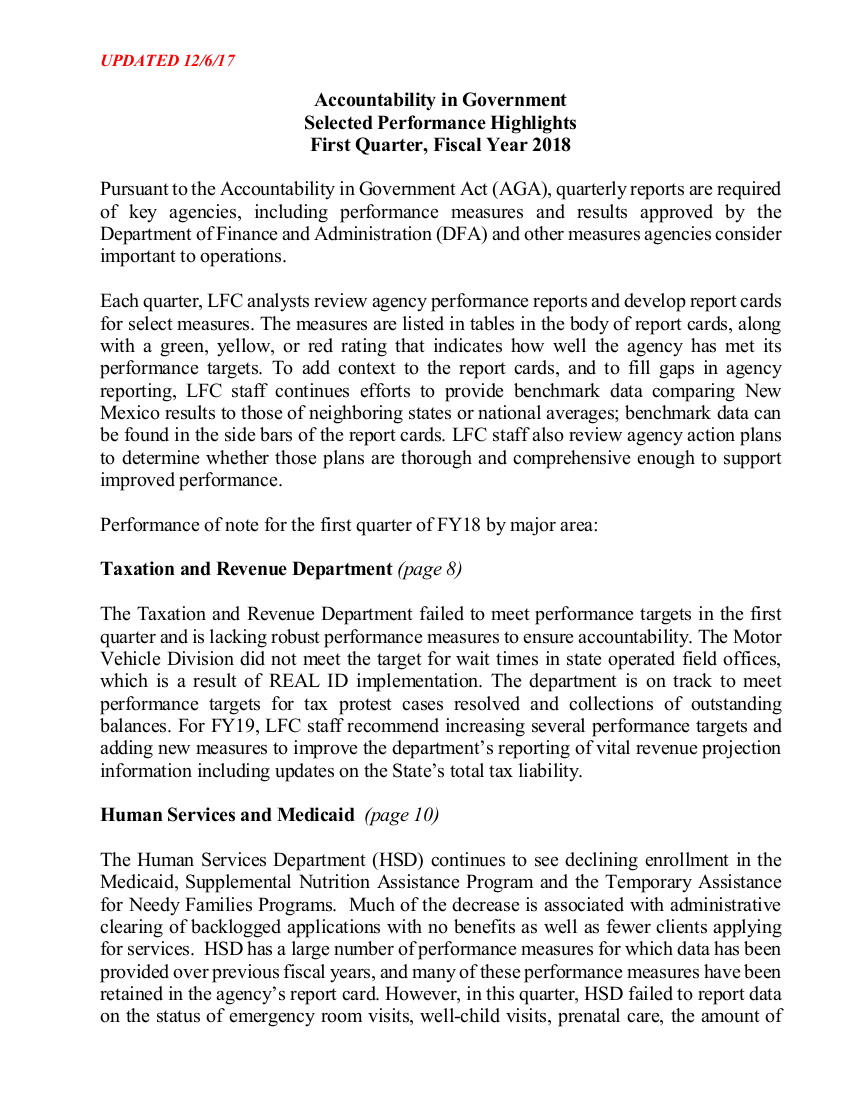 Legislative Finance Committee New Mexico Legislature Report Card Packet    Q1 FY18 LFC Committee Report Template 9 Quarterly